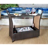 Abbyson Living® Charlene Outdoor Wicker Wheeled Bar Cart in Espresso