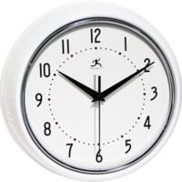 Infinity Instruments Retro Round White Metal Wall Clock