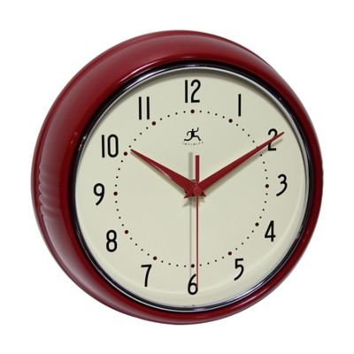 Amazing Retro Metal Wall Clock In Red