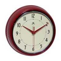 Retro Metal Wall Clock in Red