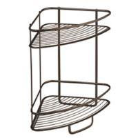 InterDesign® Axis 2-Tier Standing Corner Storage Shelf in Bronze