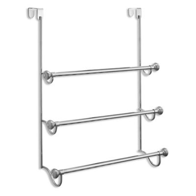 Interdesign York 3 Tier Over The Door Towel Rack In Brushed Stainless