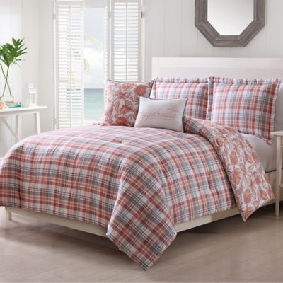 pescadero 5 piece king comforter set in coral - Nautical Bedding