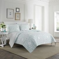Laura Ashley® Mia King Quilt Set in Light Blue