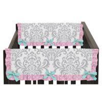 Sweet Jojo Designs Skylar Side Crib Rail Covers in Pink/White (Set of 2)