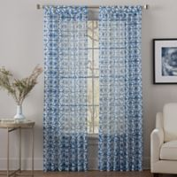 Sumatra 108-Inch Tab Top Sheer Window Curtain Panel in Blue