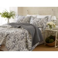 Laura Ashley® Amberley Full/Queen Quilt Set in Black/White