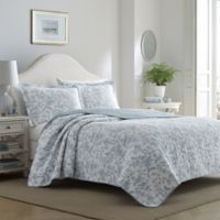 Laura Ashley® Amberley King Quilt Set in Blue