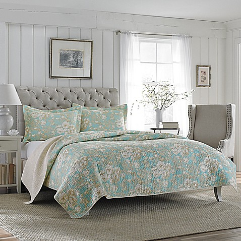 Laura ashley brompton quilt set in aqua bed bath beyond for Bedroom ideas laura ashley