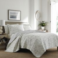 Laura Ashley® Harmony Coast Full/Queen Reversible Quilt Set in Grey