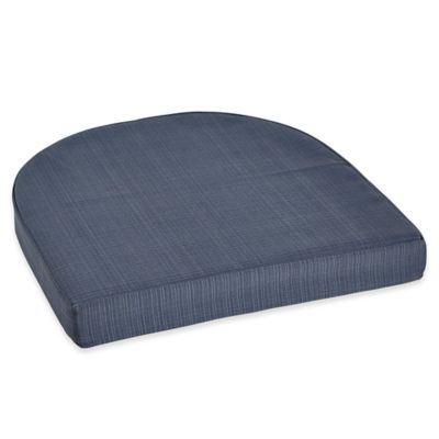 brentwood originals forsyth outdoor wicker stacking chair cushion in denim