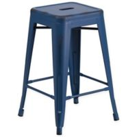 Flash Furniture Backless Distressed Metal Indoor/Outdoor Counter Stool in Blue