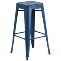 Flash Furniture Backless Distressed Metal Indoor/Outdoor Barstool in Blue