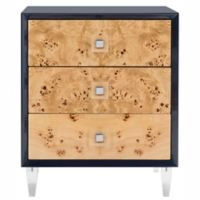 Safavieh Couture Paolo Burlwood End Table in Navy/Natural
