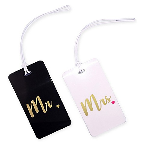 Quot Mr Quot And Quot Mrs Quot 2 Piece Luggage Tag Gift Set In Gold