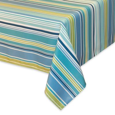 Marvelous Capri Stripe 52 Inch X 70 Inch Oblong Tablecloth In Aqua