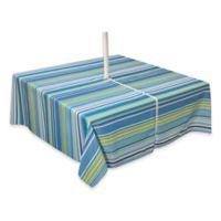 Capri Stripe 60-Inch x 84-Inch Oblong Tablecloth with Umbrella Hole in Aqua