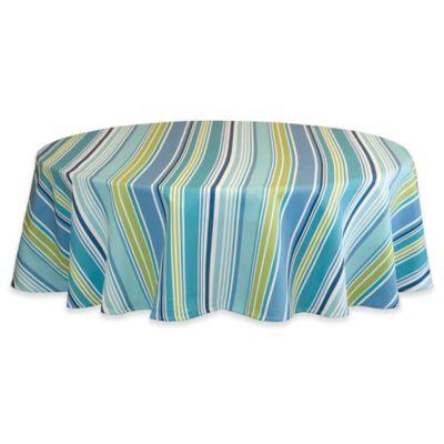 Capri Stripe 70 Inch Round Tablecloth In Aqua