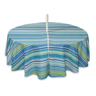 Capri Stripe 70 Inch Round Tablecloth With Umbrella Hole In Aqua