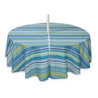 Capri Stripe 70-Inch Round Tablecloth with Umbrella Hole in Aqua