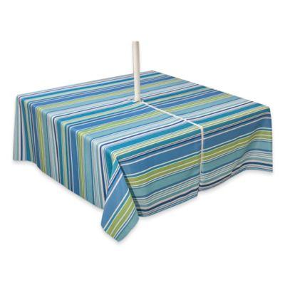 Capri Stripe 70 Inch Square Tablecloth With Umbrella Hole In Aqua