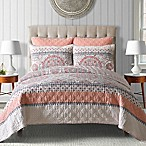 Toren Cotton Reversible King Quilt in Coral