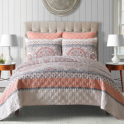 Toren Cotton Reversible Quilt In Coral Bed Bath Beyond