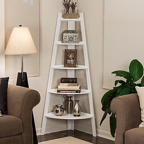 Wood 5 Tiered Corner Ladder Bookcase In White Bed Bath