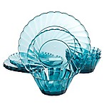 Gibson Home Estelle 12-Piece Acrylic Dinnerware Set in Teal