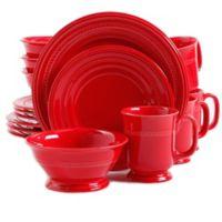 Gibson Overseas 16-Piece Elite Barberware Dinnerware Set in Red