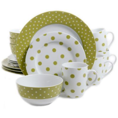 gibson overseas issac mizrahi dot luxe 16piece dinnerware set in chartreuse - Dishware Sets
