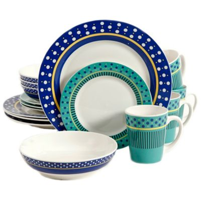 Gibson Home Lockhart 16-Piece Dinnerware Set in White/Blue  sc 1 st  Bed Bath \u0026 Beyond & Buy Blue Stripe Dinnerware from Bed Bath \u0026 Beyond