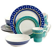 Gibson Home Lockhart 16-Piece Dinnerware Set in White/Blue