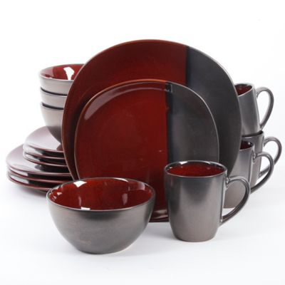 Gibson Elite Volterra 16 Piece Dinnerware Set In Red
