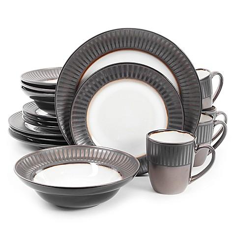 gibson elite wayfair 16 piece dinnerware set in black white bed bath beyond. Black Bedroom Furniture Sets. Home Design Ideas