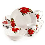 Gibson Home Noble Poinsettia 12-Piece Dinnerware Set