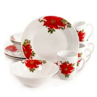Gibson Overseas Noble Poinsettia 12-Piece Dinnerware Set
