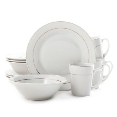 Gibson Home Tuxedo Deluxe 12-Piece Dinnerware Set in White  sc 1 st  Bed Bath u0026 Beyond & Buy Gibson Dinnerware from Bed Bath u0026 Beyond