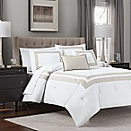 Double Banded 5-Piece Full/Queen Hotel Style Comforter Set in Taupe/White