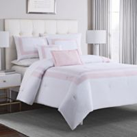 Double Banded 5 Piece Full Queen Hotel Style Comforter Set In Blush White