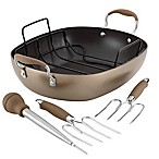 Anolon® Advanced Bronze Hard Anodized Nonstick 5-Piece 16-Inch Oval Roaster and Rack Set
