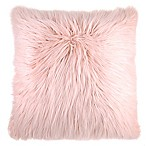Flokati Faux Fur European Throw Pillow in Dusty Blush