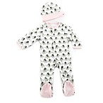 Baby Aspen Size 0-6M 2-Piece Little Peanut Elephant Footie and Hat Set in Pink/White
