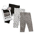 Baby Aspen Trendy Baby Size 0-6M 3-Pack Print Leggings in Grey/Pink
