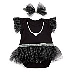 Baby Aspen Size 0-6M 2-Piece My First Party Dress and Headband Set in Black/White