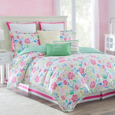Buy floral full comforter sets from bed bath beyond southern tide kiawah floral reversible full comforter set in pinkgreen mightylinksfo