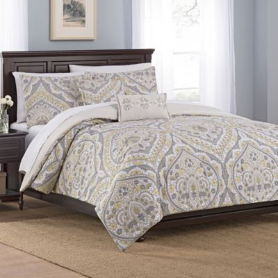 Buy Damask Queen Bedding Set From Bed Bath Beyond - Blue and brown damask comforter