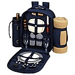 Picnic at Ascot Trellis 2-Person Picnic Backpack with Blanket in Navy
