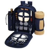 Picnic at Ascot Bold Collection 2-Person Picnic Backpack with Blanket in Navy/White