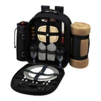 Picnic at Ascot Bold Collection 2-Person Picnic Backpack with Blanket in Classic Black